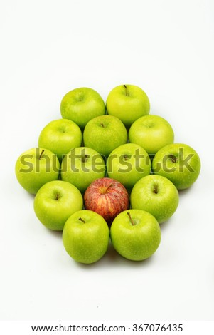 Green Apples , Red Apple on White Background , Healthy Eating , Fresh