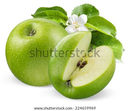 Green apples with flower isolated on white background - stock photo