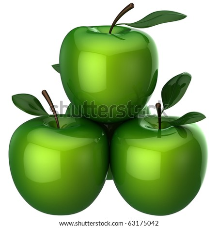 Green apples with little leaves. This is a detailed 3D rendering (Hi-Res). Isolated on white. - stock photo