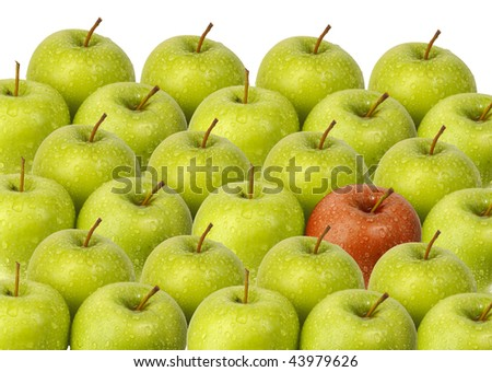 green apples with red apple - stock photo