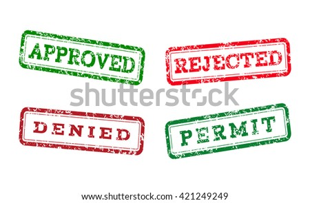 Green approved, permit logo stamp and red rejected, denied logo stamp. grunge style on white background. illustration. template for web design. infographics Raster version - stock photo