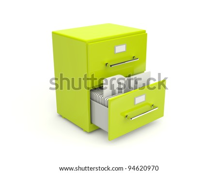Green archive cabinet icon isolated on white - stock photo