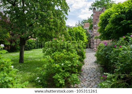 Green area of Grand Beguinage of Leuven - stock photo