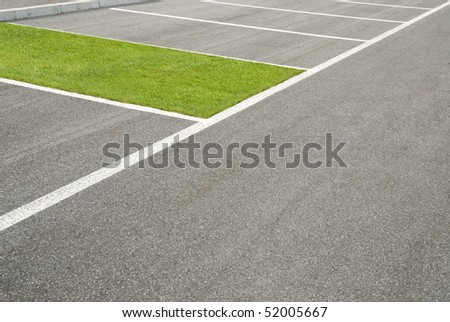 green area, of grass, instead of car park - stock photo