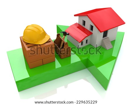 Green arrow and small house - construction concept  - stock photo