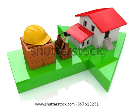 Green arrow and small house - construction concept in the design of the information related to the construction - stock photo