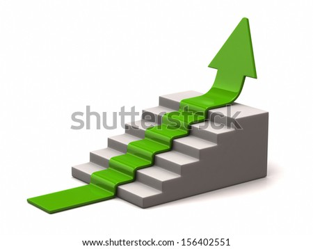 Green arrow climbs upwards on white background - stock photo