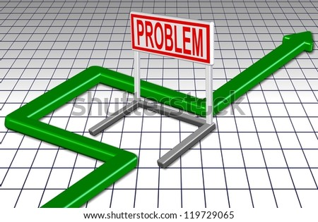 Green arrow going around a barrier spelling a word problem / Go around problem - stock photo