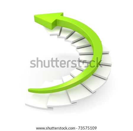 Green Arrow Moving Upstairs - stock photo