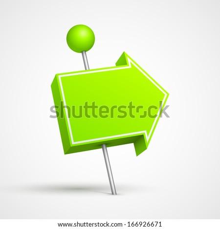 Green arrow pushpin 3D. - stock photo