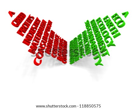 Green arrow representing ecology and red arrow representing greed in opposite directions isolated on white background - stock photo