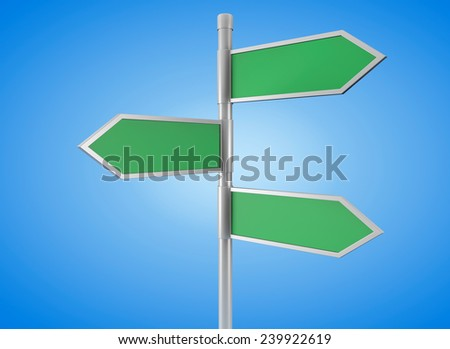 Green arrow road signs on a blue background - stock photo