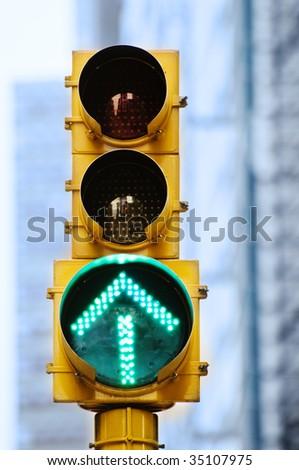 Green Arrow Stoplight - stock photo
