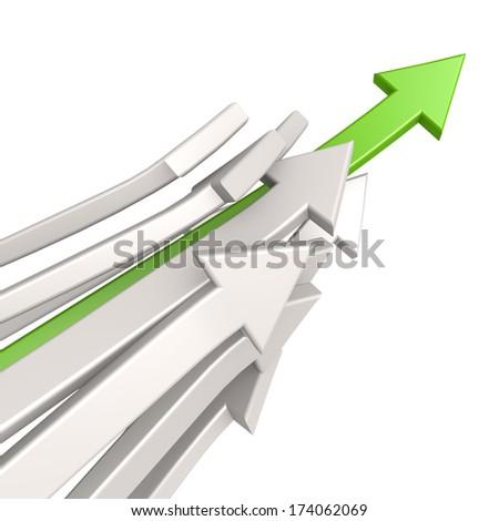 Green arrow toward success - stock photo