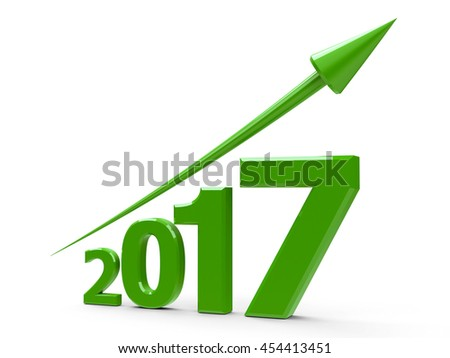 Green arrow up represents the growth in 2017 year, three-dimensional rendering, 3D illustration - stock photo