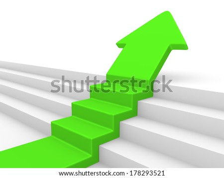 Green arrow with steps - stock photo
