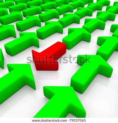 green arrows agains a red one isolated on a mirrored white plane - stock photo