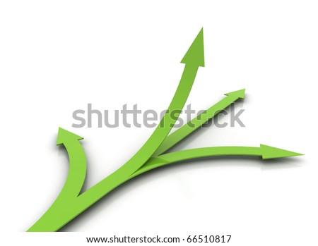 Green arrows - choice concept - stock photo