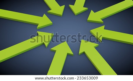 green arrows on a blue background specify in the center of the image - stock photo