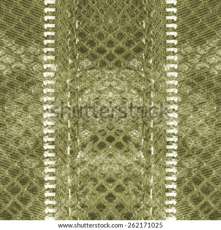 green artificial snake skin texture closeup, zippers(fragment of female handbag imitation snakeskin) - stock photo