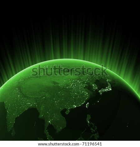Green Asia. Maps from NASA imagery - stock photo