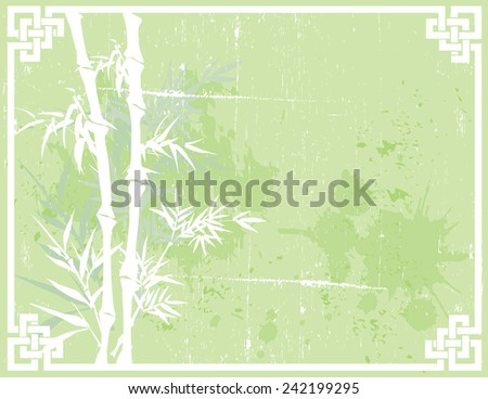 Green Asian bamboo design on textured background with knot frame and space for text  - stock photo