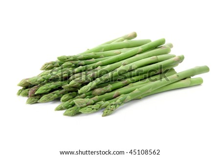 Green asparagus  isolated on white background. - stock photo
