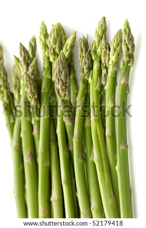 Green asparagus isolated on white background