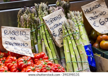 Green asparagus on mediterranean market stand, Bologna, Italy. - stock photo
