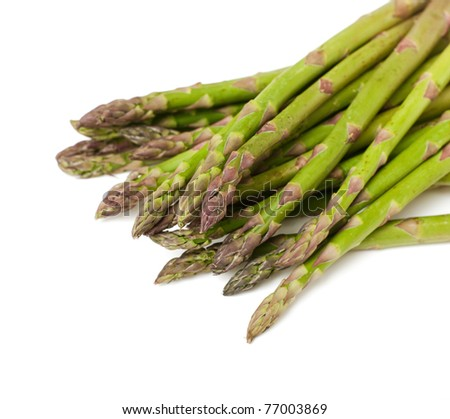 green asparagus on white background - stock photo