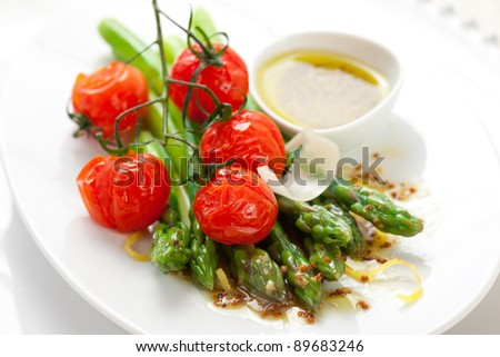 green asparagus with roasted tomatoes,cheese and lemon mustard ...