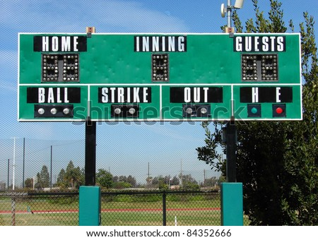 green athletic baseball scoreboard - stock photo