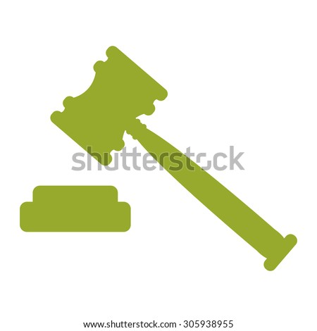 Green Auction, Judgement Hammer Infographics Flat Icon, Sign Isolated on White Background - stock photo