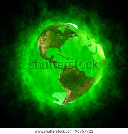 Green aura of Earth - America - stock photo