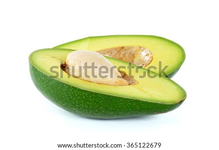 Green avocado isolated on the white background.
