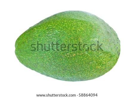 Green avocado isolated on white background