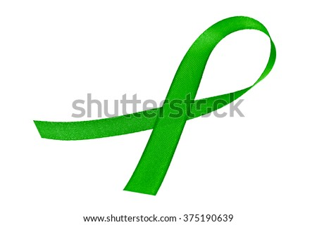 Green awareness ribbon isolated on a white background - stock photo