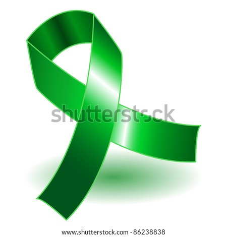 Green awareness ribbon over a white background with drop shadow, simple and effective. - stock photo