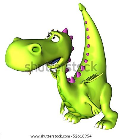 Green baby dragon cool - stock photo