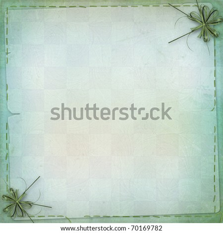Green backdrop with frame for greetings or invitations - stock photo
