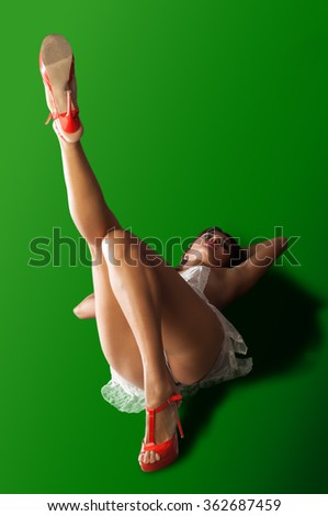 Green background Chroma Key. Young asian woman sexy ass in thong on white background.  - stock photo