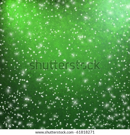 green background falling snowflakes and stars - stock photo