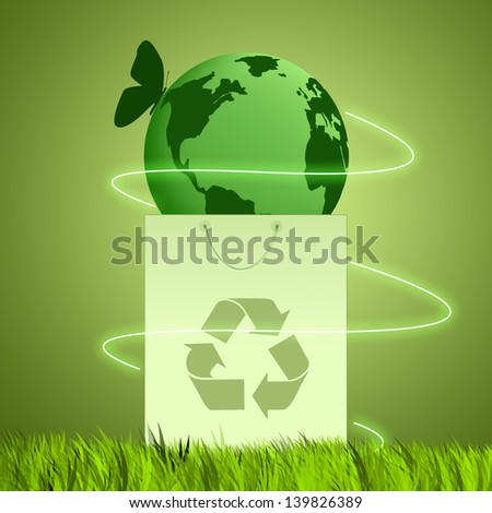 green background for ecology - stock photo
