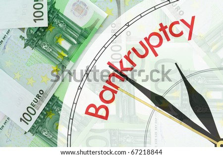 Green background made of banknotes of one hundred euros - bankruptcy concept - stock photo