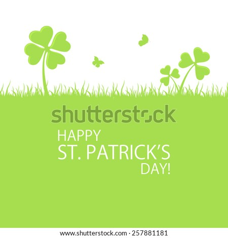 Green background of St. Patricks Day with clover, grass and butterfly, illustration.  - stock photo