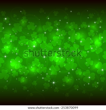 Green background of St. Patricks Day with clover, illustration  - stock photo