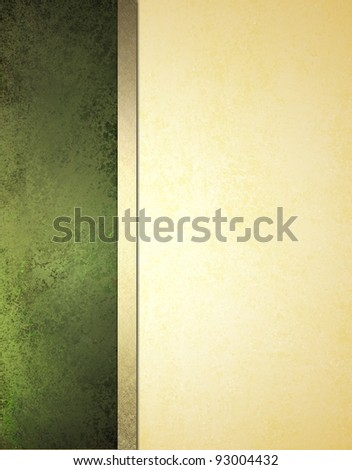 green background or formal background with rich vintage grunge texture and soft cream linen white paper with gold ribbon parchment and copy space for menu or invitation or announcement - stock photo