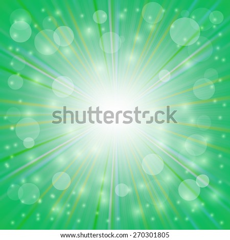 Green  Background. Sun Burst on Green Background. Ray Background with Stars. - stock photo