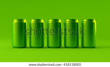 Green background with aluminum cans  3D illustration