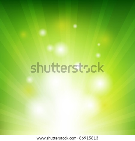 Green Background With Beams - stock photo
